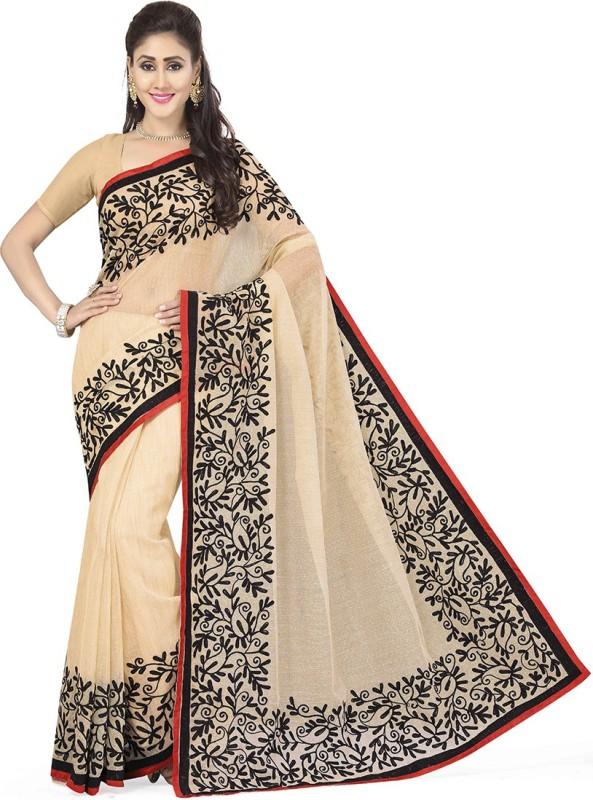 Rani Saahiba Embroidered Bollywood Linen, Cotton Slub Saree(Beige)