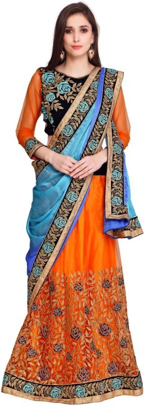 Bhelpuri Embroidered Fashion Net, Crepe, Jacquard Saree(Orange, Blue)