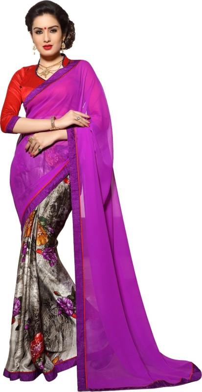 Jiya Self Design, Printed Fashion Satin Blend, Poly Georgette, Chiffon Saree(Multicolor, Purple)
