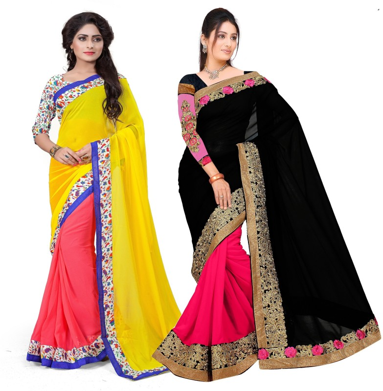 Aashvi Creation Embroidered, Self Design Daily Wear Georgette Saree(Pack of 2, Multicolor)