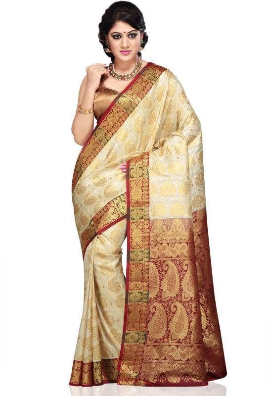 Aayori Woven Kanjivaram Art Silk Saree(White, Maroon)