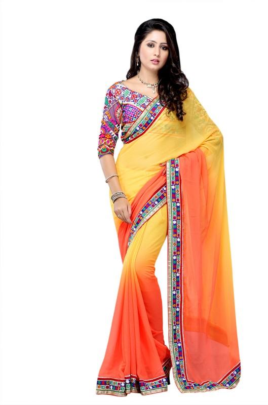 Suvastram Solid Fashion Chiffon Saree(Orange, Yellow)
