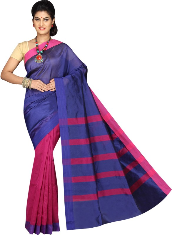 Korni Solid, Striped Banarasi Cotton Saree(Pink)