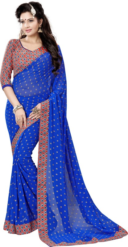 Khushali Self Design, Printed Fashion Georgette Saree(Blue, Multicolor)