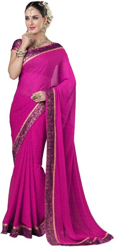 Khushali Self Design Fashion Poly Georgette Saree(Multicolor, Pink)