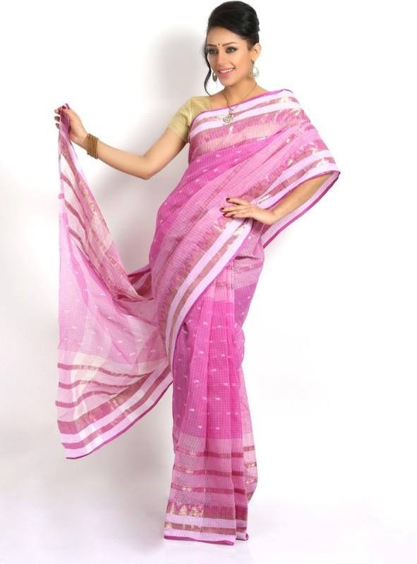 Purabi Woven Tant Handloom Cotton Saree(Purple)