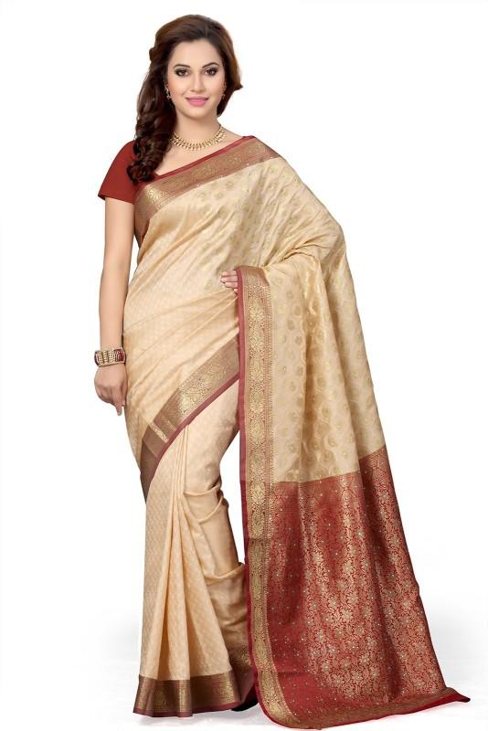 Ishin Woven Fashion Poly Silk Saree(Beige)