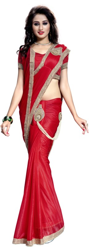 The Fashion Outlets Solid, Embellished Fashion Lace Saree(Red)
