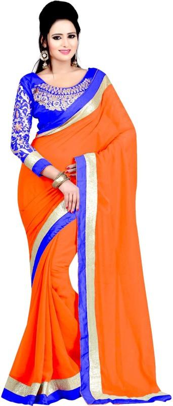 Winza Designer Embellished, Embroidered, Paisley, Printed, Self Design, Solid Bollywood Chiffon Saree(Orange,...