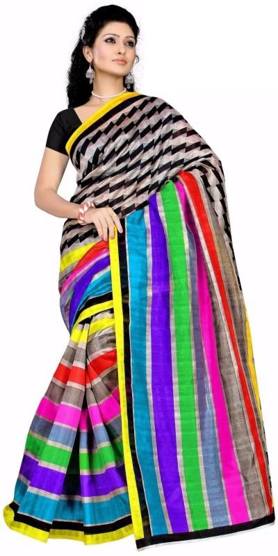 Right Shape Woven Bhagalpuri Jute Saree(Pink)