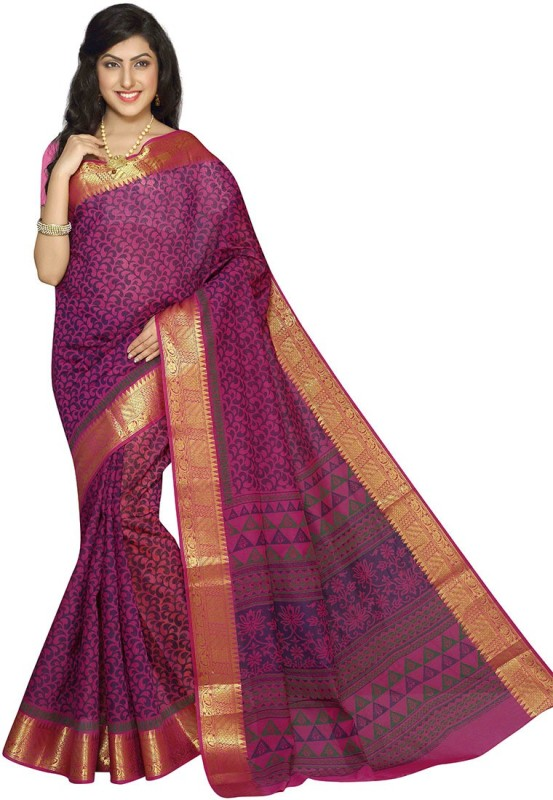 Rani Saahiba Printed Gadwal Cotton Saree(Purple)