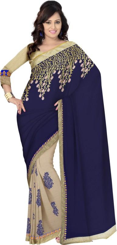 Triveni Self Design Fashion Georgette, Chiffon Saree(Beige)