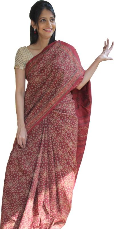 Indo Mood Woven Daily Wear Tussar Silk Saree(Maroon)