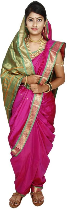 Womens Cottage Solid Assam Silk Art Silk Saree(Pink)