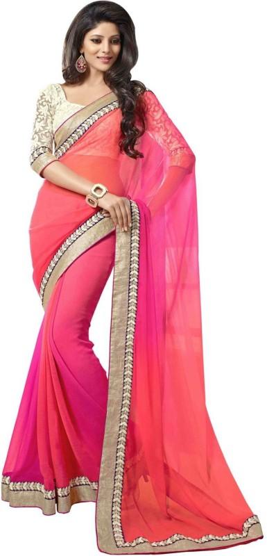 PURPLE FASHIONS Solid Fashion Georgette Saree(Pink)