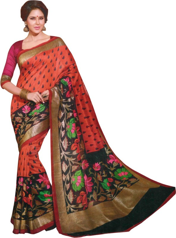 Trendz Printed Fashion Cotton Saree(Multicolor)