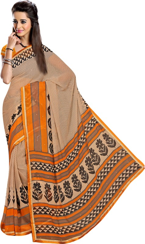 Khushali Self Design, Printed, Embellished Fashion Georgette Saree(Beige, Multicolor, Yellow)