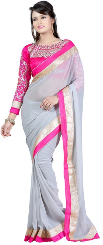 Winza Designer Embellished, Checkered Bollywood Georgette, Poly Georgette Saree(Multicolor, Pink, Grey)
