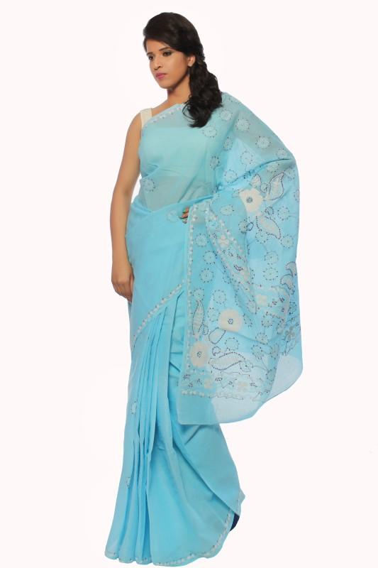BDS Chikan Embroidered Lucknow Chikankari Cotton Saree(Blue)