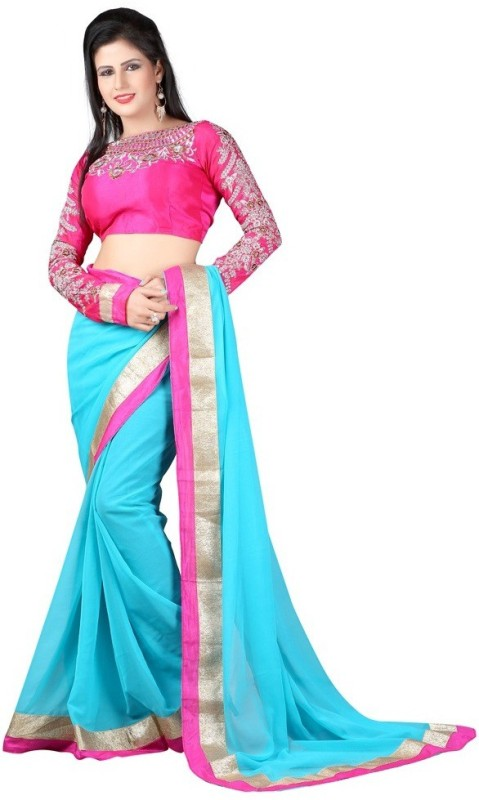 Bollywood Designer Self Design Bollywood Georgette Saree(Light Blue)