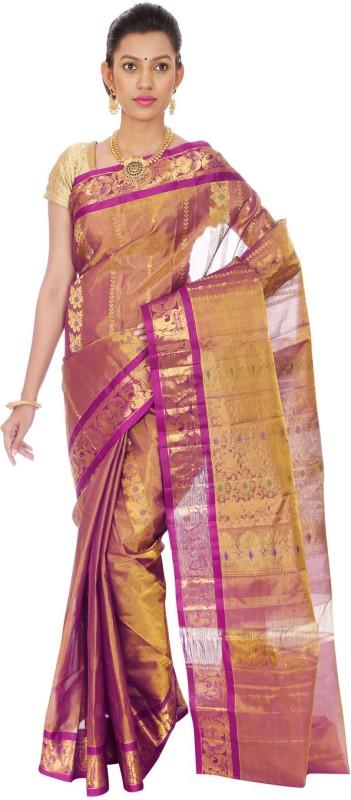 Mahaveersilkcreations Woven Kanjivaram Handloom Tissue Saree(Purple)