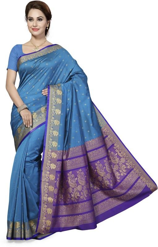 Ishin Woven Fashion Silk Cotton Blend Saree(Blue)