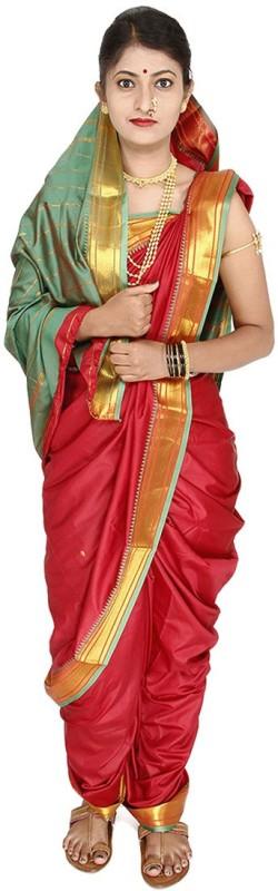 Womens Cottage Solid Assam Silk Art Silk Saree(Maroon)