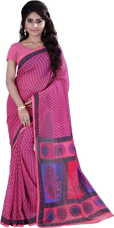 Khushali Self Design, Printed Fashion Georgette Saree(Pink, Purple)