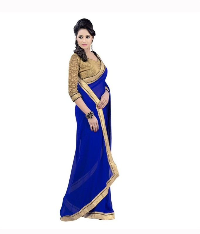 Bollywood Designer Solid Fashion Handloom Poly Georgette Saree(Light Blue)