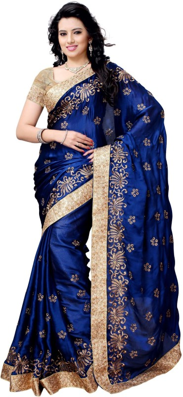 Four Seasons Embroidered Fashion Satin Saree(Blue)