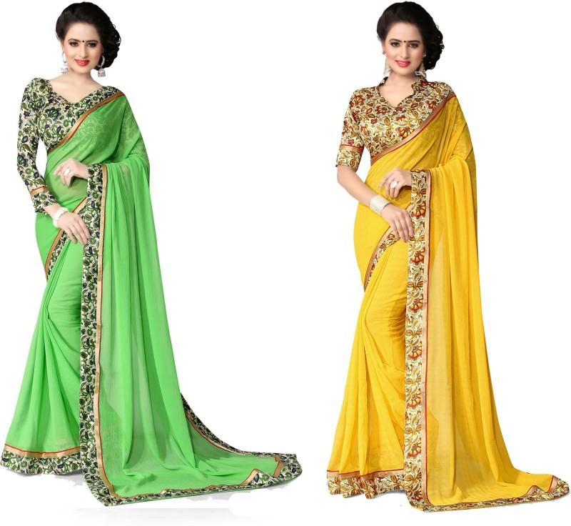 Indianbeauty Printed Bollywood Chiffon Saree(Pack of 2, Yellow, Light Green)