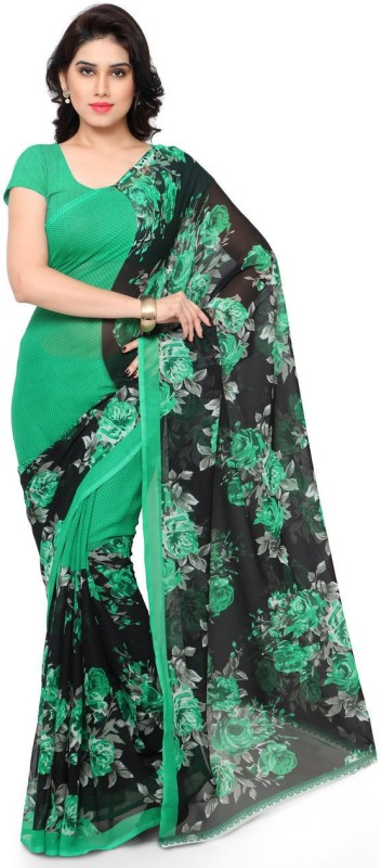 Anand Sarees Printed Daily Wear Synthetic Georgette Saree(Green)