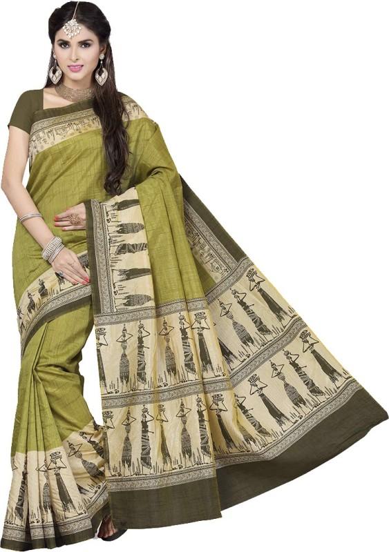 Rani Saahiba Printed Fashion Art Silk Saree(Green)