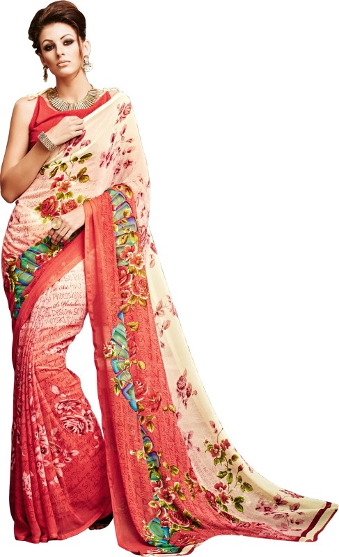 Khushali Self Design, Printed Fashion Georgette Saree(Multicolor)