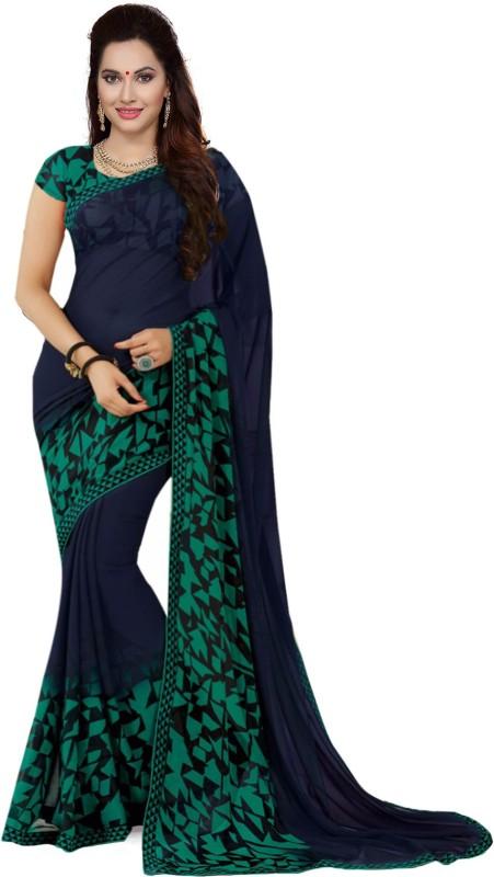 Ishin Printed Fashion Synthetic Georgette Saree(Blue)
