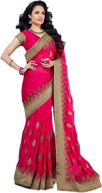 M.S.Retail Embroidered Fashion Handloom Satin Blend Saree(Pink)