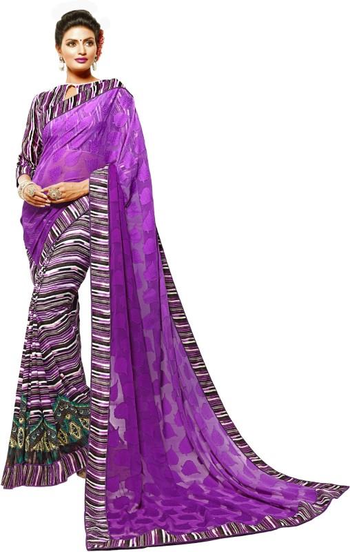 Khushali Self Design, Printed Fashion Georgette, Jacquard Saree(Purple, Multicolor)