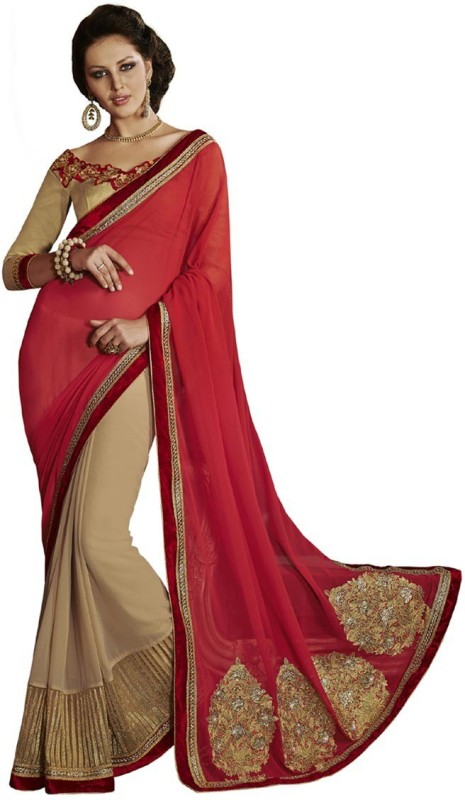Desi Butik Self Design Fashion Georgette Saree(Red)