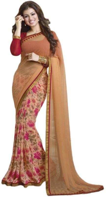 Khwaab Enterprise Printed Bollywood Chiffon Saree(Multicolor)