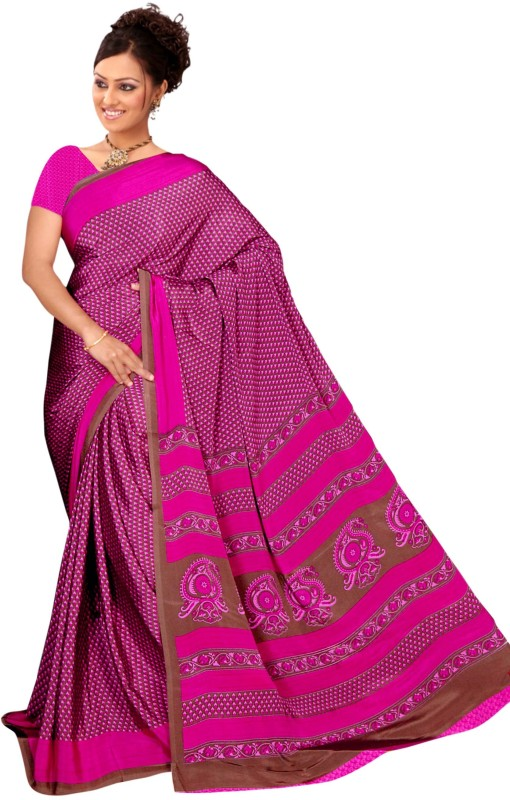 Khoobee Self Design, Printed Fashion Silk, Crepe Saree(Pink)