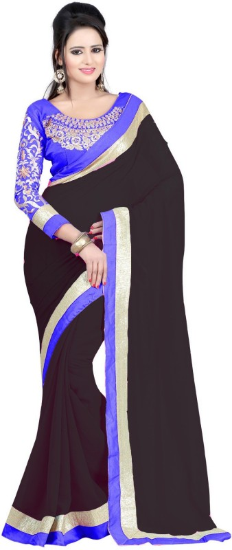 Bollywood Designer Self Design Bollywood Georgette Saree(Black)