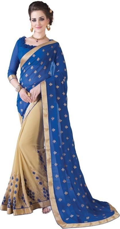 Khoobee Self Design, Embroidered, Embellished Fashion Poly Georgette, Chiffon Saree(Dark Blue, Beige)