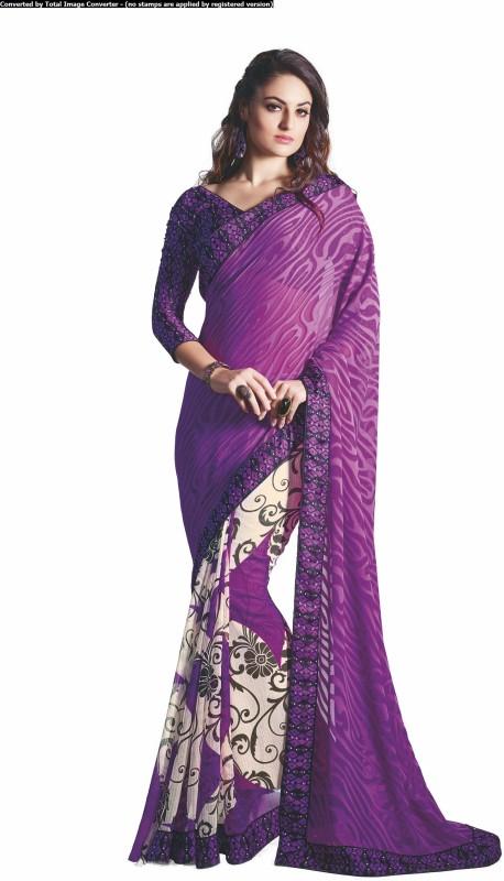 Khushali Self Design, Printed Fashion Chiffon, Georgette, Jacquard Saree(Purple, White)