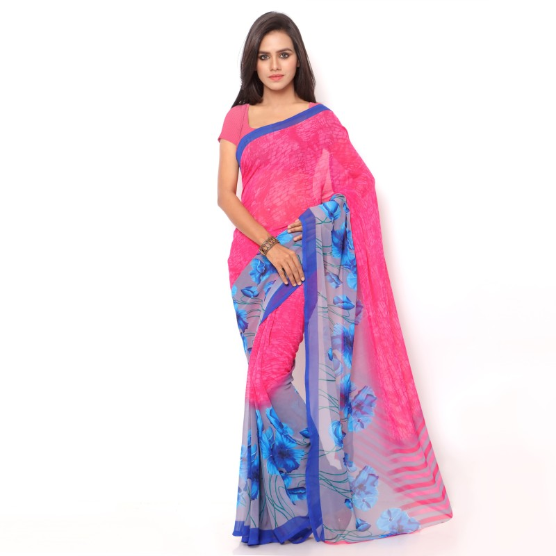 Ligalz Printed Daily Wear Chiffon Saree(Blue, Pink)