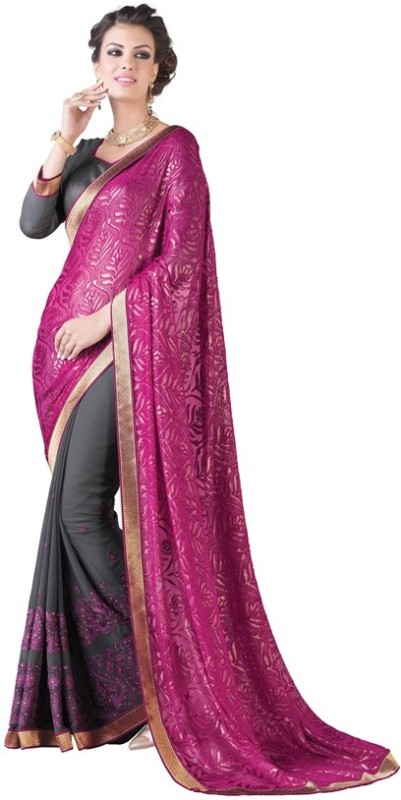 Jiya Self Design, Embroidered, Embellished Fashion Georgette, Chiffon, Brasso Saree(Pink, Grey)