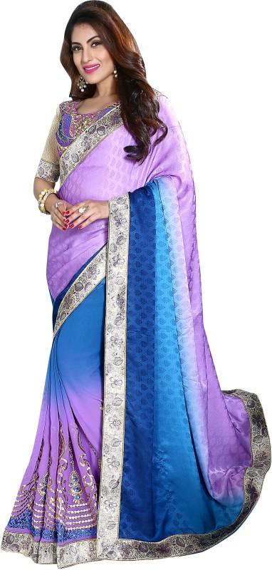 Khushali Self Design, Embroidered, Embellished Fashion Georgette, Crepe, Jacquard Saree(Purple, Blue, Multicolor)