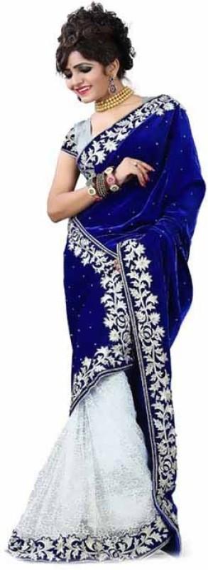 Mastani Embroidered Bollywood Velvet Saree(Blue)