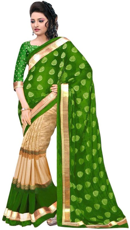 Ishin Embellished Banarasi Art Silk Saree(Green)