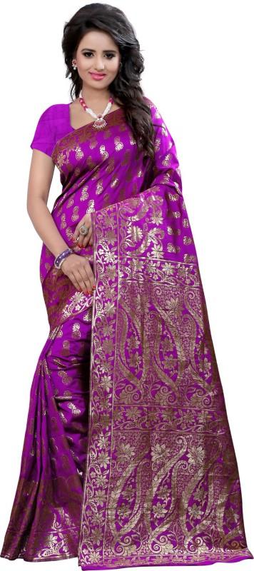Style U Self Design Bollywood Poly Silk Saree(Purple)