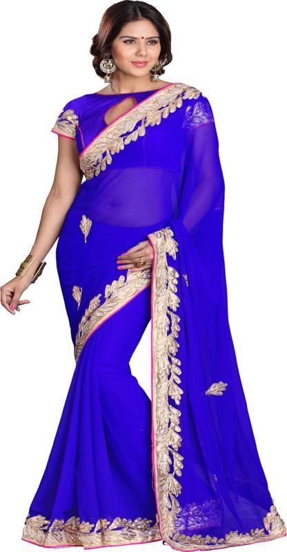 Sourbh Sarees Self Design Fashion Chiffon Saree(Blue)
